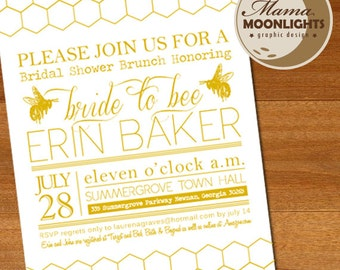 Bride to Bee - Whimsical, Modern Bridal Shower Invitation Printable