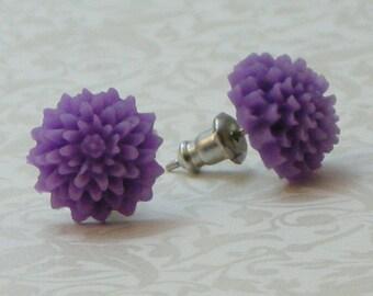Mum Flower Earrings - Lavender Purple