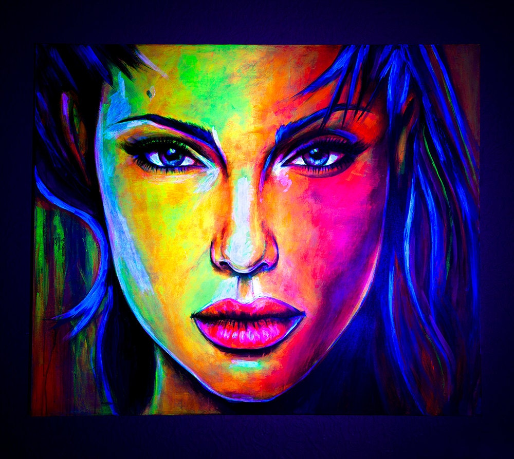 Art Portrait Painting Abstract UV Glow In The Dark Fluorescent