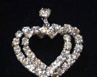 Double Rhinestone Heart Pendant