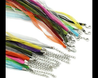 10 Organza & Ribbon Cord Necklaces - SALE