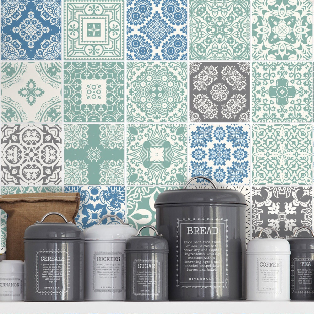 keuken tegels decoratie : Muurstickers Voor Tegels Voor Keuken Pastel Blauw Tegels