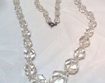 Old Vintage Faceted Graduated Crystal Necklace