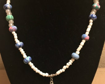 Cute Flip Flop Necklace, made with Clay beads and Glass beads, with a Blue Flip Flop Charm