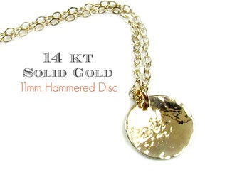 14KT SOLID GOLD Hammered Disc Coin Necklace, Hammered Dangling Disc in 14Kt Yellow Gold, White Gold, Rose Gold