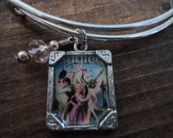 Disney Tangled Rapunzel Flynn Ryder silver charm bangle bracelet
