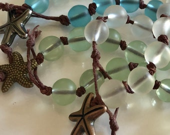 Seaglass Bead Hand Knotted Bracelet