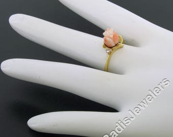 Vintage Solid 10k Yellow Gold Carved Pink Angel Skin Coral Rose Flower & Round Single Cut Diamond Ring