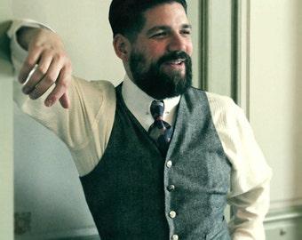 tweed waistcoat, 1930's style men's vest, tweed vest, Peaky Blinders style, vintage menswear, 1940's vest