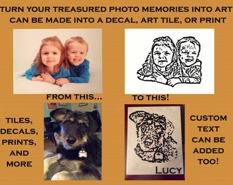 Custom Graphic Vinyl Portrait - Created and Personalized from your Photograph!  Can be Made into Decal, Art Tile, Art Print, and More!