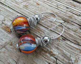 Bubble glass earrings-Blown glass earrings-Murano glass earrings-Watercolor collection.Boucles d'oreilles en verre-Orecchini soffiati-Gift