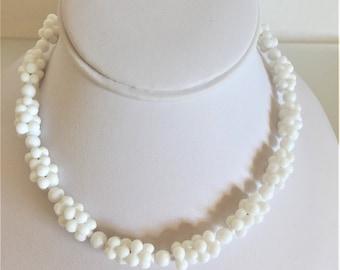 Vintage 1940's Milk Glass Beaded Choker Necklace