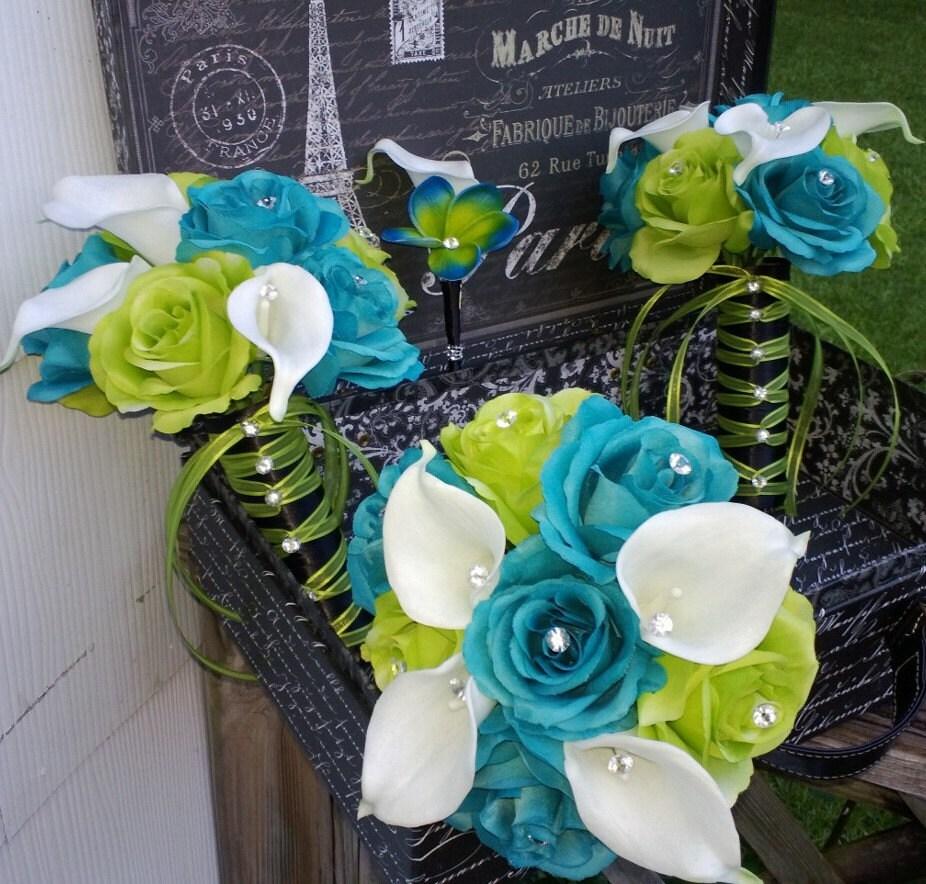 17 Piece Malibu Blue Lime Green White Wedding Bouquet Set