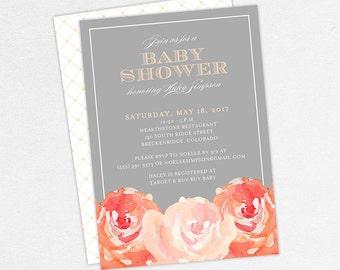 Baby Shower Invitation, Girl Shower Invite, Girl Baby Shower, Printable Invitation, Invite PDF, Watercolors, Peonies, Peach, Flowers, Haley