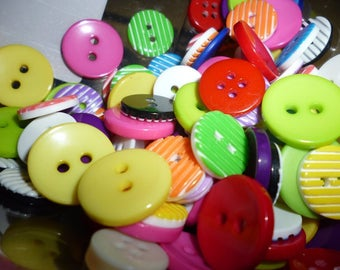 Mixed lot Craft buttons pack of 50 Assorted random Plastic
