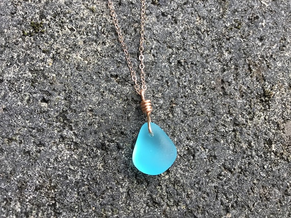 Aqua Blue Recycled Seaglass, 14k Rose Gold Chain Necklace