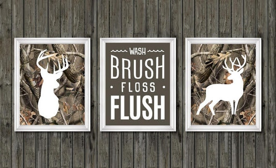 Camo bathroom decor, boys bathroom decor, deer bathroom decor, wash, brush,  floss, flush, camouflage, deer bathroom theme, hunting bathroom