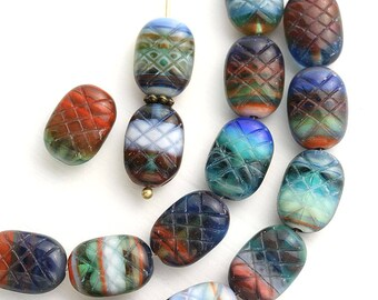 Multicolor oval beads mix czech glass beads in Boho shades, ornament, blue, red, green, brown - 13x9mm - 15Pc - 1511