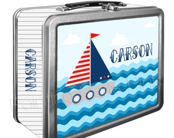 Sailboat Classic Tin Lunch Box with or without Side Wrap | Back To School | Personalized | Image on Both Sides | Keepsake Box