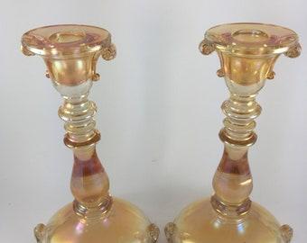 Vintage Marigold Double Scroll Glass Candlestick Holder. Set of 2.