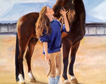 Horse & rider OIL Portraits, 11 x 14 or 16 x 20 on canvas, horse art, fine art,custom equine art by professional artist M Theresa Brown
