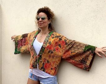Algidón Kimono with thread stitch decoration, boho kimono