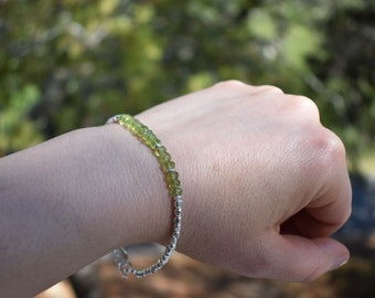 August birthstone of Peridot mixed with silver beads