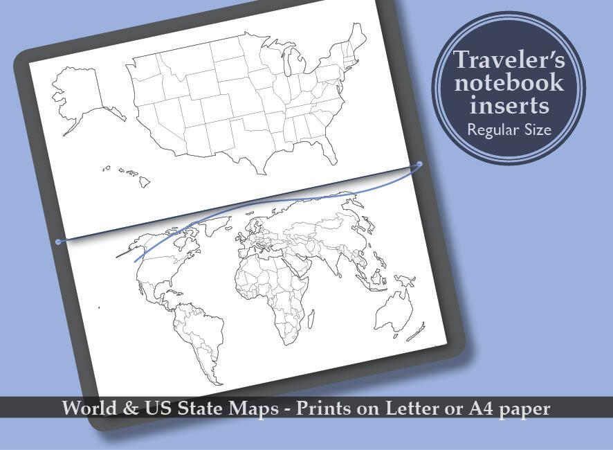 Printable world us state map bullet journal midori zoom gumiabroncs Choice Image