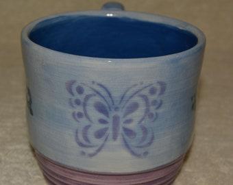 Butterfly Mug, Coffee Mug, Tea Mug, Blue, Purple, Butterfly, Teal Swirls, Stoneware, Ceramic Mug, 24 Ounces, Oval Shape