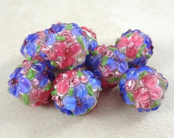 Lampwork Beads - Fuchsia Floral Delight - Fuchsia & Lavender Floral Lamp work - approx. 14mm - Qty. 2