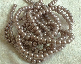 Glass Pearls, 3 X 16 inch strands, 4mm, Taupe