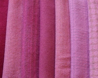 Pink - Fuchsia Hand dyed felted wool in a range of Bright Pink Tones Perfect for Rug Hooking, Applique, Quilting, Sewing by Quilting Acres