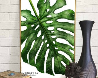 Monstera Leaf Watercolor Print