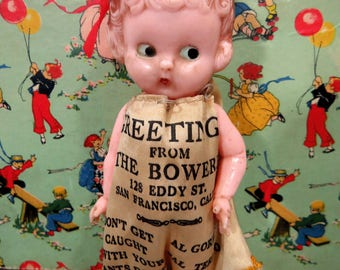 Knickerbocker Plastic Doll, Advertising The Bowery Club, Barbary Coast, Vintage
