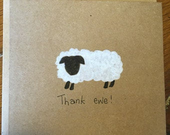 Thank you card, thank you, thank you for the gift, thanks card, thank ewe, thank you teacher, thank you gift, appreciation card