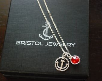 Nautical Anchor Necklace with optional Birthstone