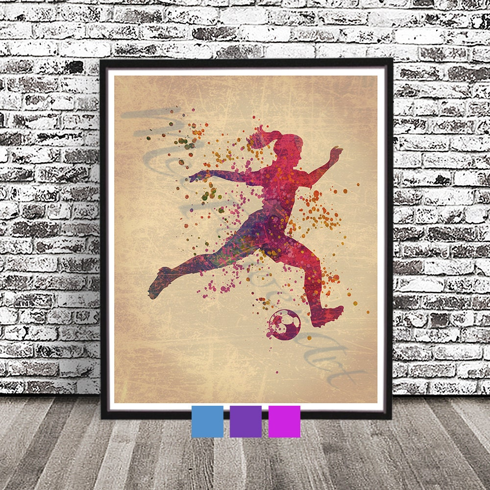 Vintage Women\'s Soccer Poster Woman Playing Soccer