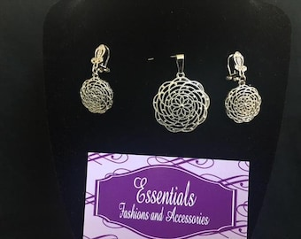 Silver Costume earring and pendant