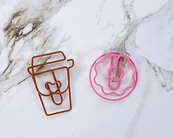 Coffee and Pink Donut Paperclips
