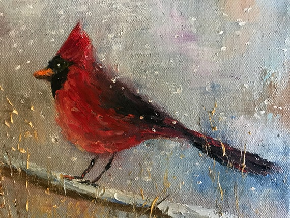 Bird Painting, Red Cardinal, Small Oil Painting,  Bright Red, Country Rustic Art