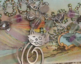 WINKING KITTY CAT sterling vintage antique assemblage necklace
