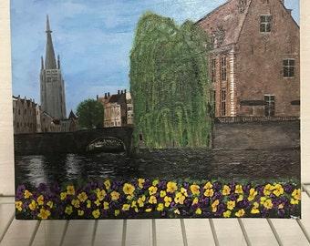 Acrylic painting of Brugge Belgium