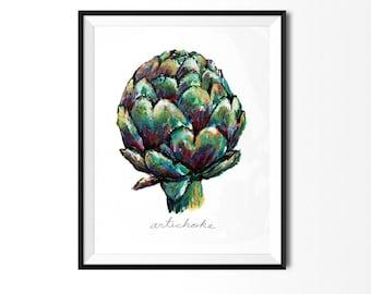 Artichoke Print, Vegetable Print, Art for Kitchen, Botanical Art, Artichoke Painting, Kitchen Print, Veggie Painting, Food Illustration