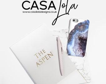 Personalised Phone Case, Mindfulness Gift, Gemstone Personalized Phone Case, Crystal Phonecase, Initial Phone Case, Worldwide Shipping