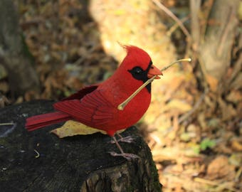 Made to order (this very item is alredy SOLD) Red cardinal needle felted bird, Soft sculpture of northern cardinal, Faux taxidermy
