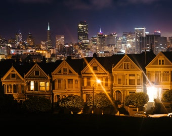 Painted Ladies & skyline at night, Alamo Square Park, San Francisco, California. Photo Print, Metal, Canvas, Framed.