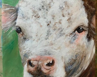 Canvas print of an original acrylic painting. Red Hereford, farm, country, primitive painting 12 x 12