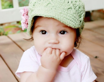 Green Newsboy for Baby Girl, 3-6 Months Girl Hat with Flowers, Crochet Baby Girl Hat, Hat for Baby Girl, Crochet Newsboy Baby Hat, Baby Hat