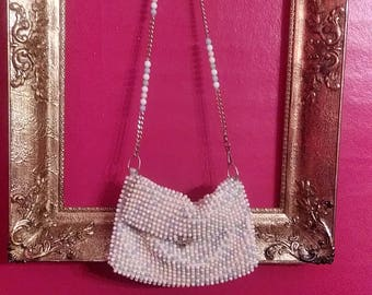 Vintage John Wind Imports 1960's -1970's Beaded Purse With Chain Link Strap