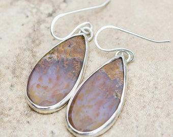 Moss Agate Teardrop Earrings in Sterling Silver Handmade